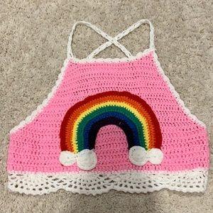Rainbow Crotchet Knit Festival Crop Top